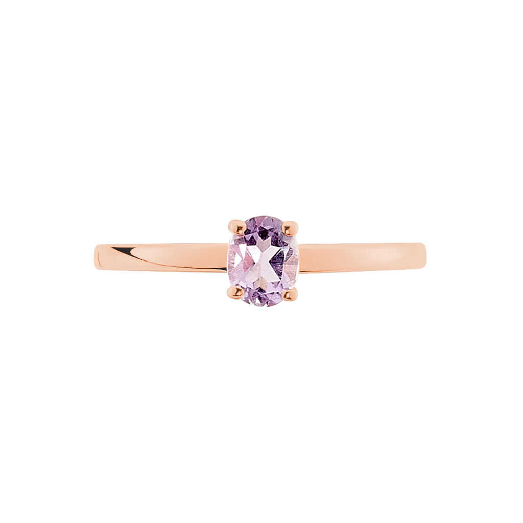 Bague Lily Or Rose Amethyste - Bagues solitaires Femme | Histoire d'Or