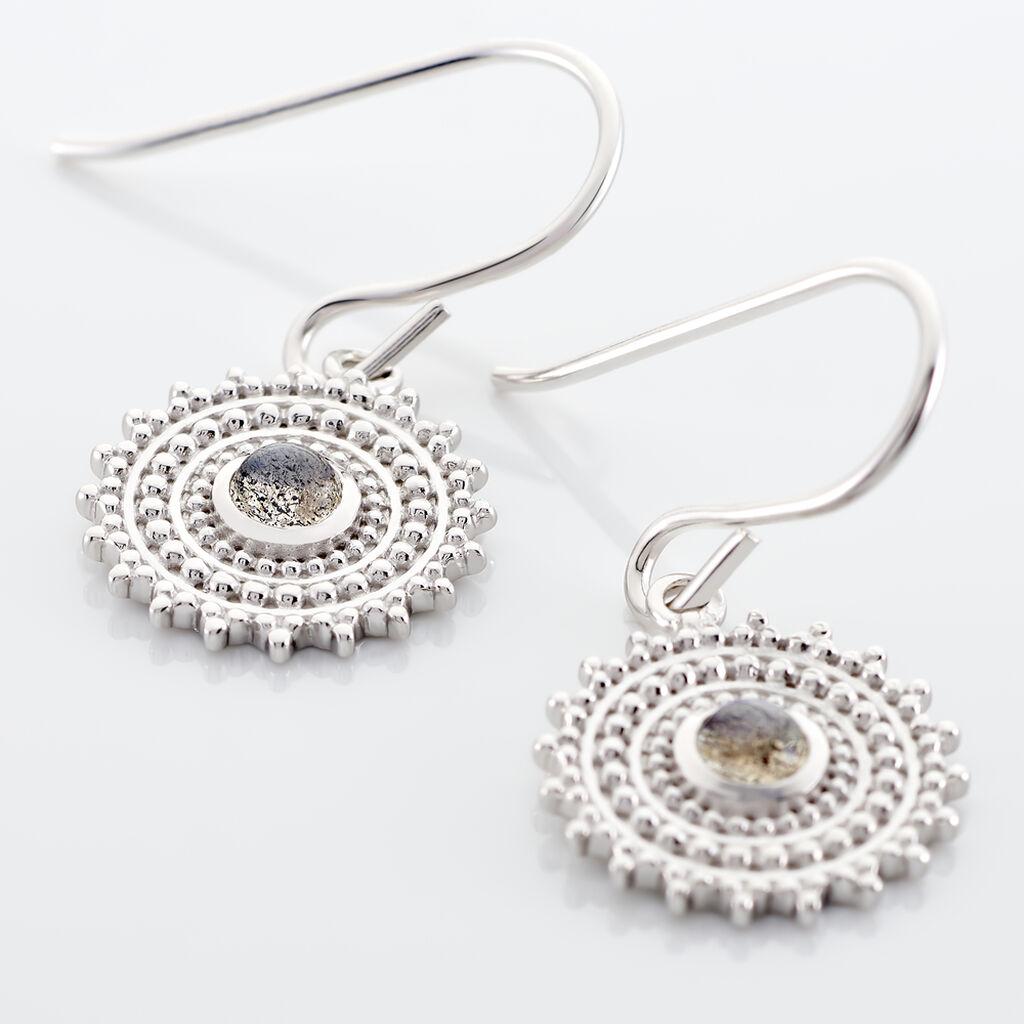 Boucles D'oreilles Pendantes Nyoko Argent Blanc Labradorite - Boucles d'oreilles fantaisie Femme | Histoire d'Or