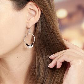 Boucles D'oreilles Pendantes Savahna Argent Blanc Pierre De Synthese - Boucles d'oreilles fantaisie Femme   Histoire d'Or