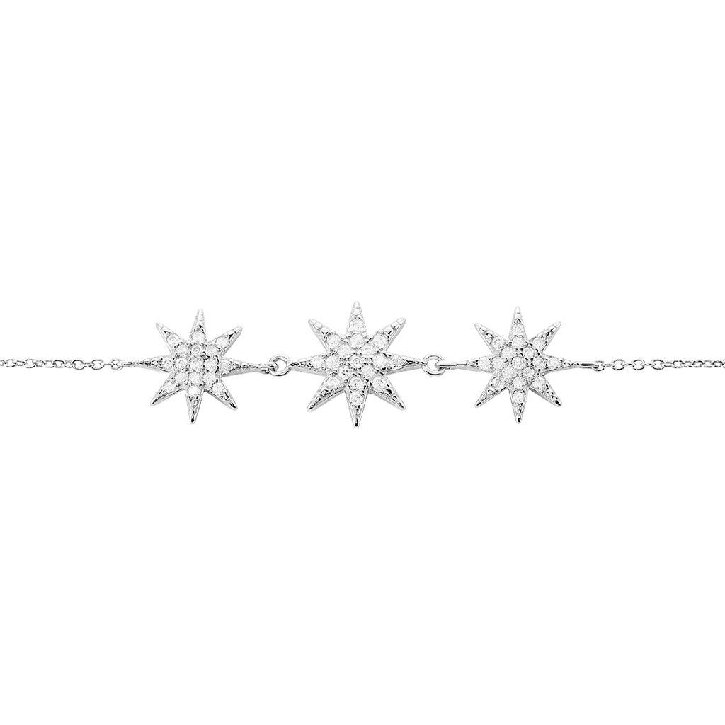 Bracelet Sarida Argent Blanc Oxyde De Zirconium - Bijoux Etoile Femme   Histoire d'Or