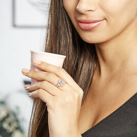 Bague Laetizia Fleur Argent Blanc Oxyde De Zirconium - Bagues avec pierre Femme | Histoire d'Or