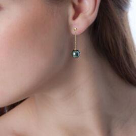 Boucles D'oreilles Puces Marie-noela Or Jaune Perle De Tahiti - Boucles d'oreilles pendantes Femme   Histoire d'Or