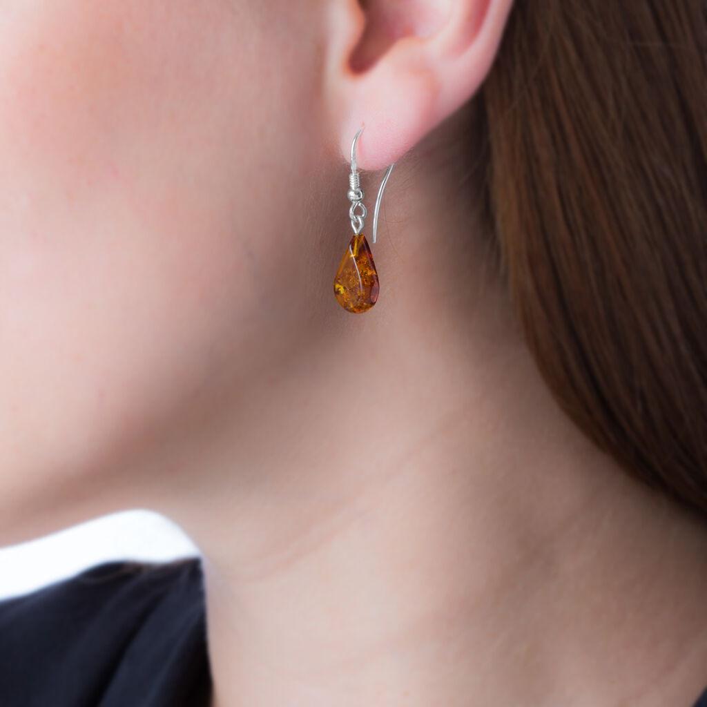 Boucles D'oreilles Pendantes Mareme Argent Blanc Ambre - Boucles d'oreilles fantaisie Femme   Histoire d'Or