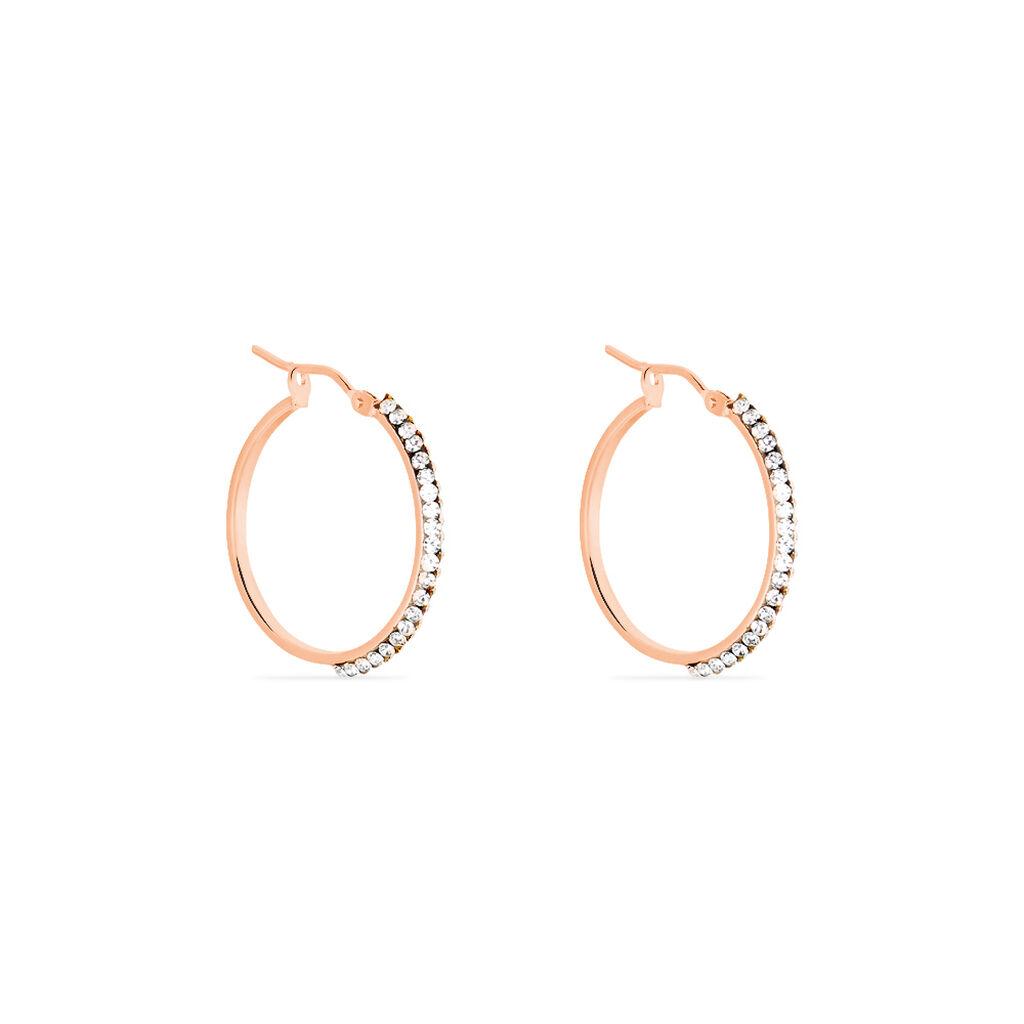 Créoles Leondine Rang Strass Rondes Or Rose Strass - Boucles d'oreilles créoles Femme   Histoire d'Or