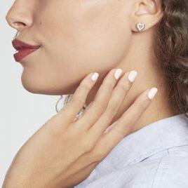 Boucles D'oreilles Puces Ibosus Argent Rhodié Oxyde - Boucles d'Oreilles Coeur Femme | Histoire d'Or