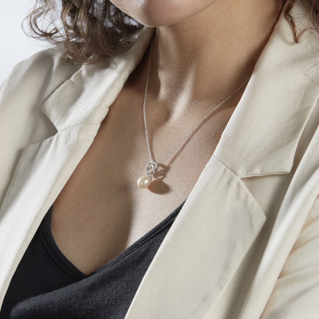 Collier Rosalie Argent Blanc Perle De Culture Et Oxyde De Zirconium - Colliers Plume Femme   Histoire d'Or