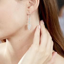 Boucles D'oreilles Pendantes Zophie Argent Blanc Pierre De Synthese - Boucles d'Oreilles Plume Femme | Histoire d'Or