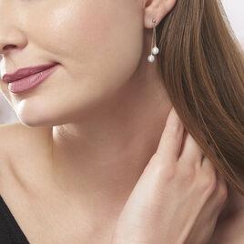 Boucles D'oreilles Pendantes Carrine 2 Fils Or Jaune Perle D'imitation - Boucles d'oreilles pendantes Femme | Histoire d'Or