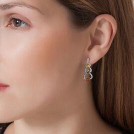 Boucles D'oreilles Pendantes Agneta Argent Blanc Ambre - Boucles d'oreilles fantaisie Femme | Histoire d'Or