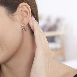 Boucles D'oreilles Or Bicolore Eloisia Cercles Diamants - Boucles d'oreilles pendantes Femme   Histoire d'Or