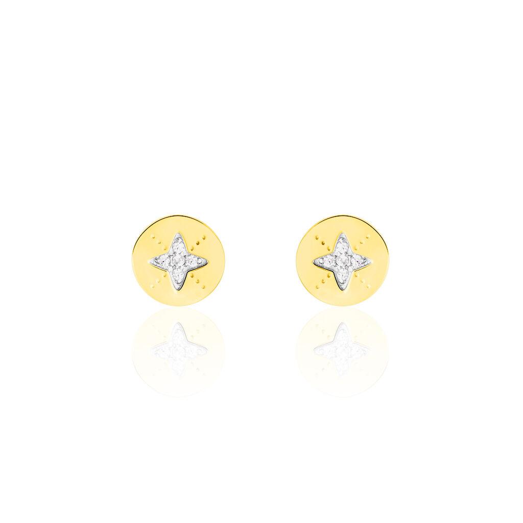 Boucles D'oreilles Puces Adnan Or Jaune Oxyde De Zirconium - Boucles d'Oreilles Etoile Femme | Histoire d'Or