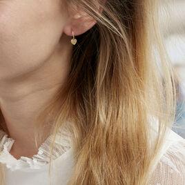Creoles Or Jaune 375/1000 Belita Pampille Cœur - Boucles d'oreilles créoles Femme | Histoire d'Or