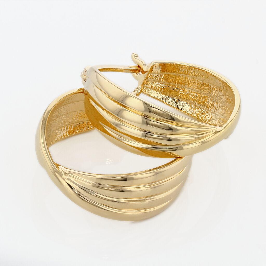 Créoles Kuma Plaque Or Jaune - Boucles d'oreilles créoles Femme   Histoire d'Or