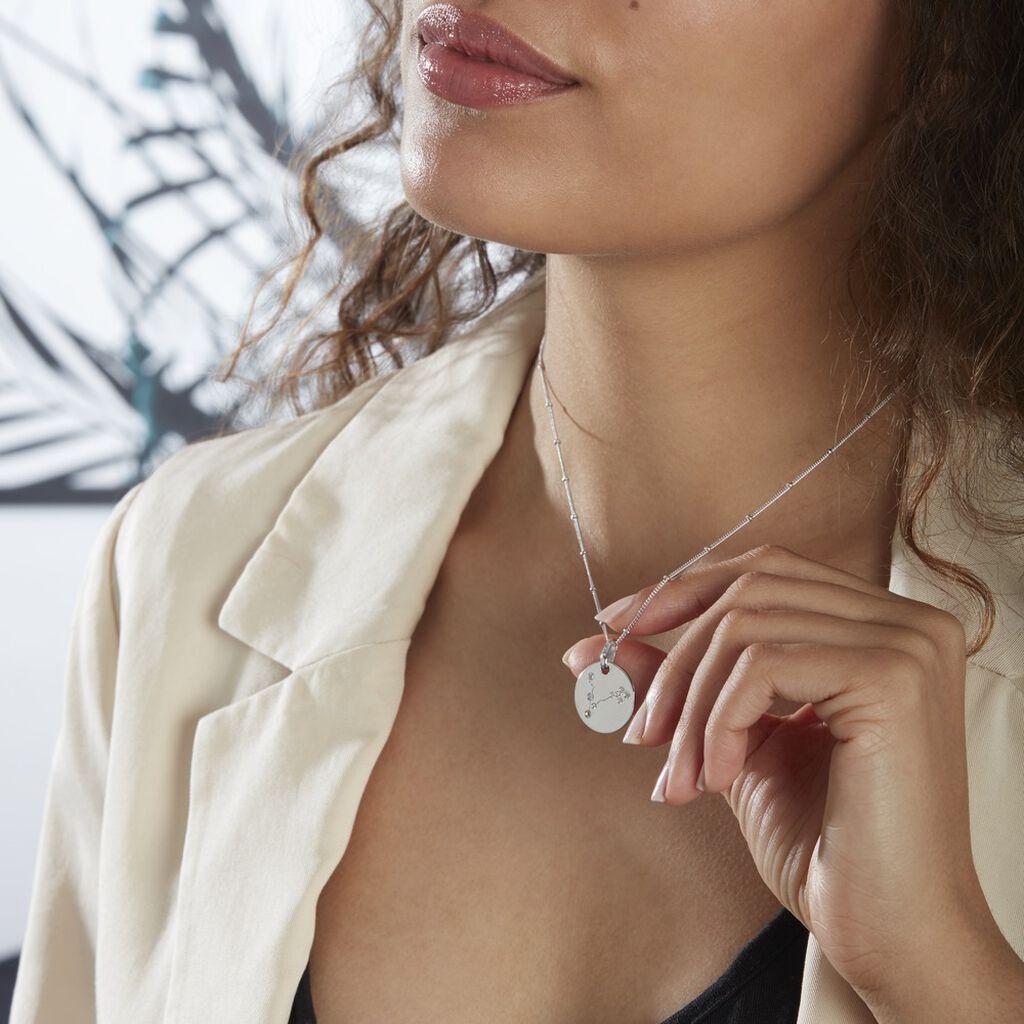 Collier Astr Argent Rhodie  Oxydes De Zirconium - Colliers Zodiaque Femme   Histoire d'Or