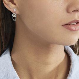 Boucles D'oreilles Pendantes Anjeza Argent Blanc - Boucles d'oreilles fantaisie Femme | Histoire d'Or