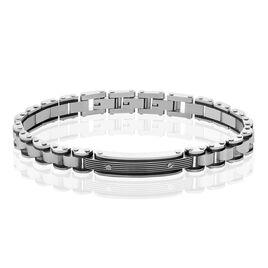 Bracelet Identite Acier Blanc Et Noir Blas - Bracelets fantaisie Homme | Histoire d'Or