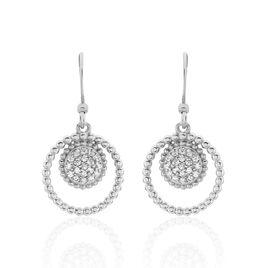 Boucles D'oreilles Pendantes Edwiga Argent Blanc Oxyde De Zirconium - Boucles d'oreilles fantaisie Femme | Histoire d'Or