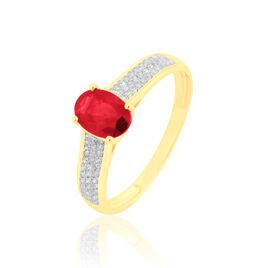 Bague Crista Or Jaune Rubis Et Diamant - Bagues avec pierre Femme   Histoire d'Or