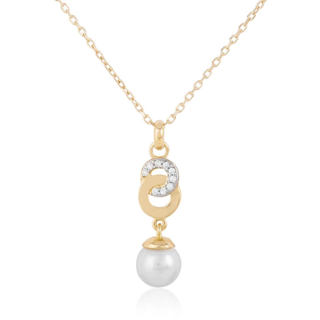 Collier Mery Plaque Or Jaune Perle D'imitation Et Oxyde De Zirconium - Colliers fantaisie Femme | Histoire d'Or