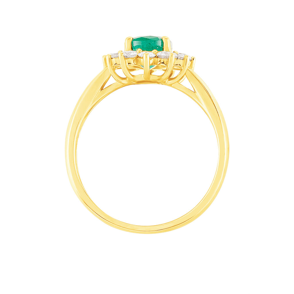 Bague Vladimir Or Jaune Emeraude Et Diamant - Bagues solitaires Femme   Histoire d'Or