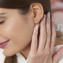 Boucles D'oreilles Puces Angellin Argent Rose Oxyde De Zirconium - Boucles d'oreilles fantaisie Femme | Histoire d'Or