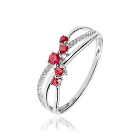 Bague Amarylis Or Blanc Rubis Diamant - Bagues avec pierre Femme | Histoire d'Or