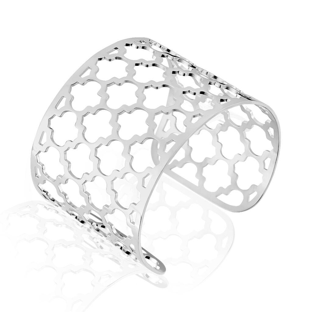Bracelet Manchette Nevenka Acier Blanc - Bracelets Trèfle Femme   Histoire d'Or