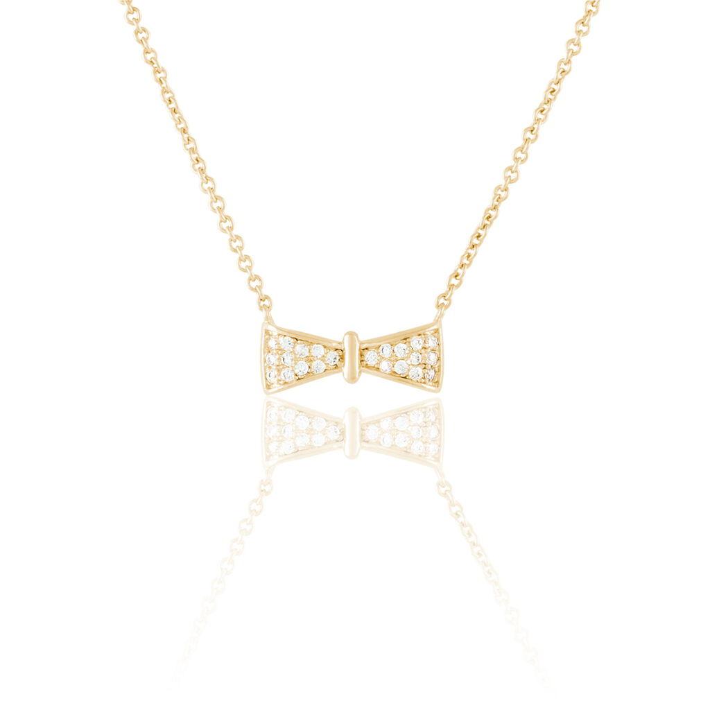 Collier Lovely Plaque Or Jaune Oxyde De Zirconium - Colliers fantaisie Femme | Histoire d'Or