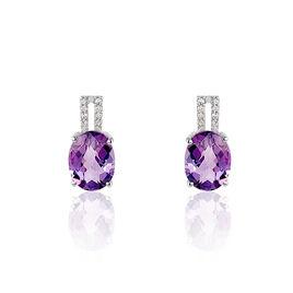 Boucles D'oreilles Puces Or Blanc Amethyste Et Diamant - Clous d'oreilles Femme | Histoire d'Or