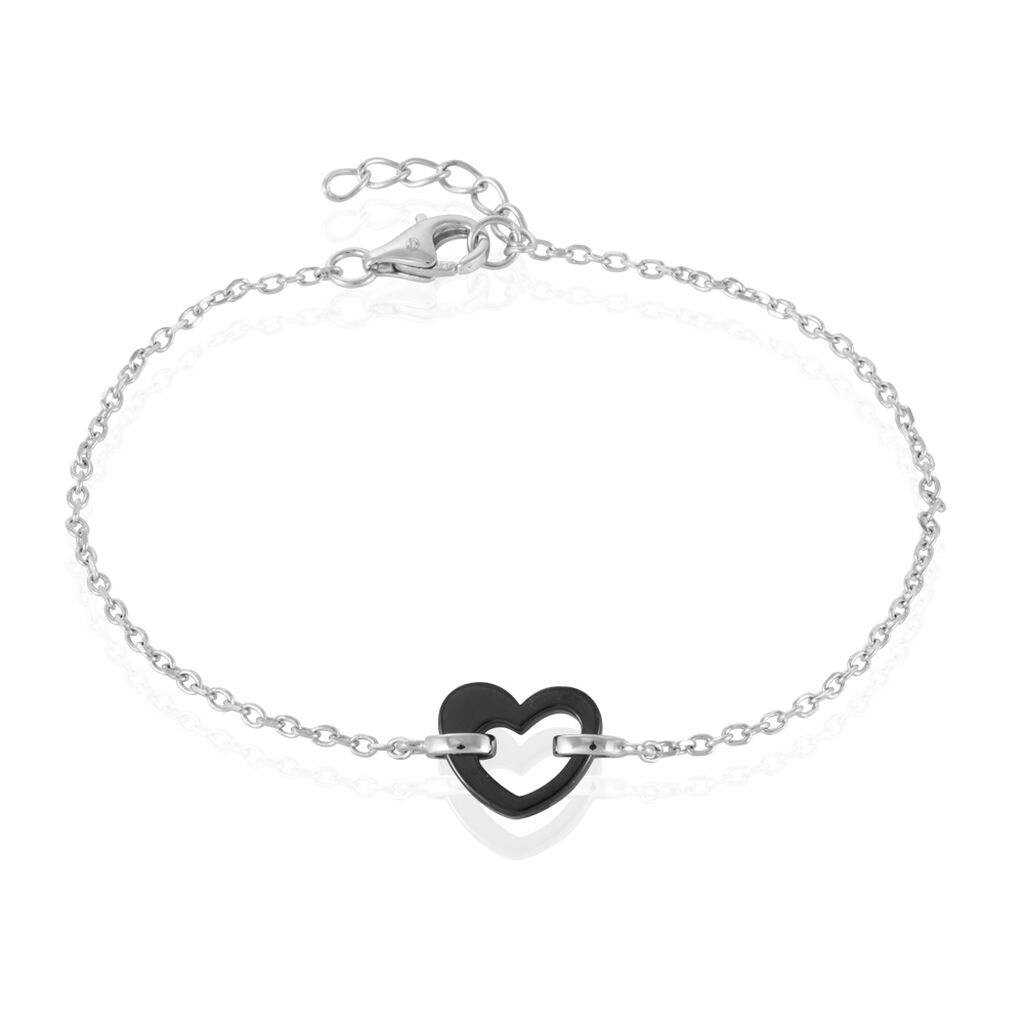 Bracelet Sumeyra Argent Blanc Céramique - Bracelets Coeur Femme   Histoire d'Or
