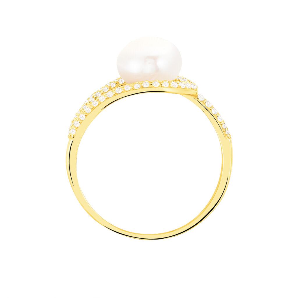 Bague Leyan Or Jaune Perle De Culture Et Oxyde De Zirconium - Bagues avec pierre Femme   Histoire d'Or