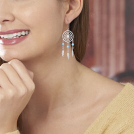 Boucles D'oreilles Pendantes Anoki Argent Blanc - Boucles d'oreilles fantaisie Femme | Histoire d'Or