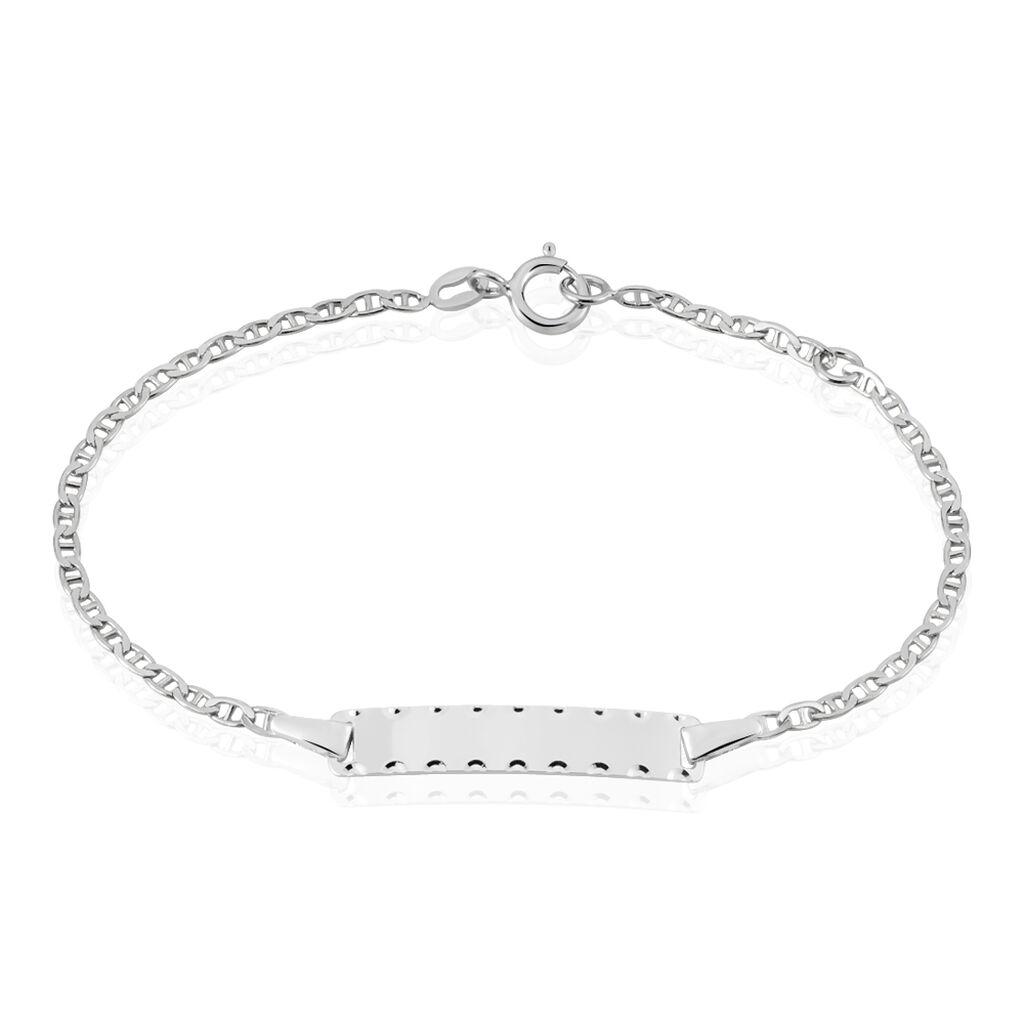 Bracelet Identité Gaspardine Maille Forçat Or Blanc - Bracelets Communion Enfant   Histoire d'Or