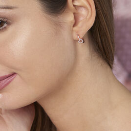 Boucles D'oreilles Pendantes Phanie Argent Rose Oxyde De Zirconium - Boucles d'Oreilles Coeur Femme | Histoire d'Or