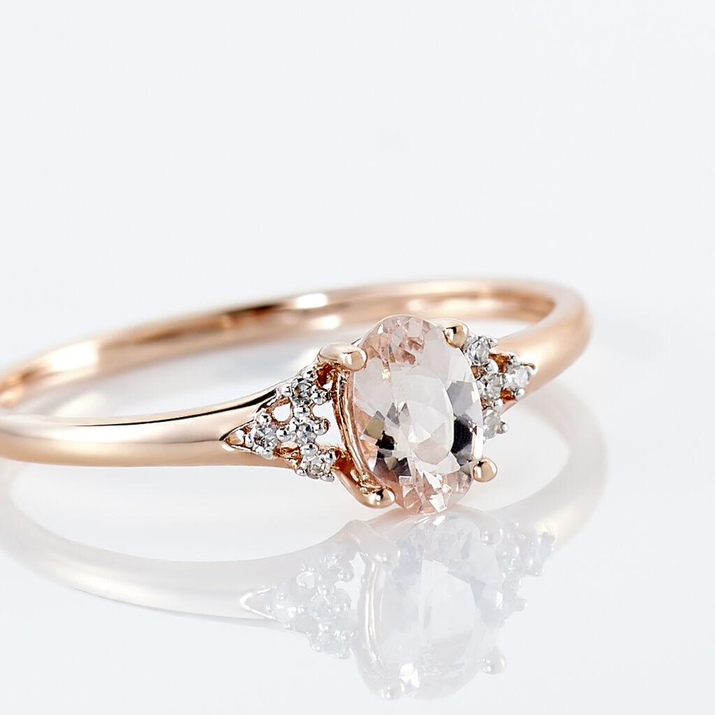 Bague Urbaine Or Rose Morganite Et Oxyde De Zirconium - Bagues avec pierre Femme   Histoire d'Or