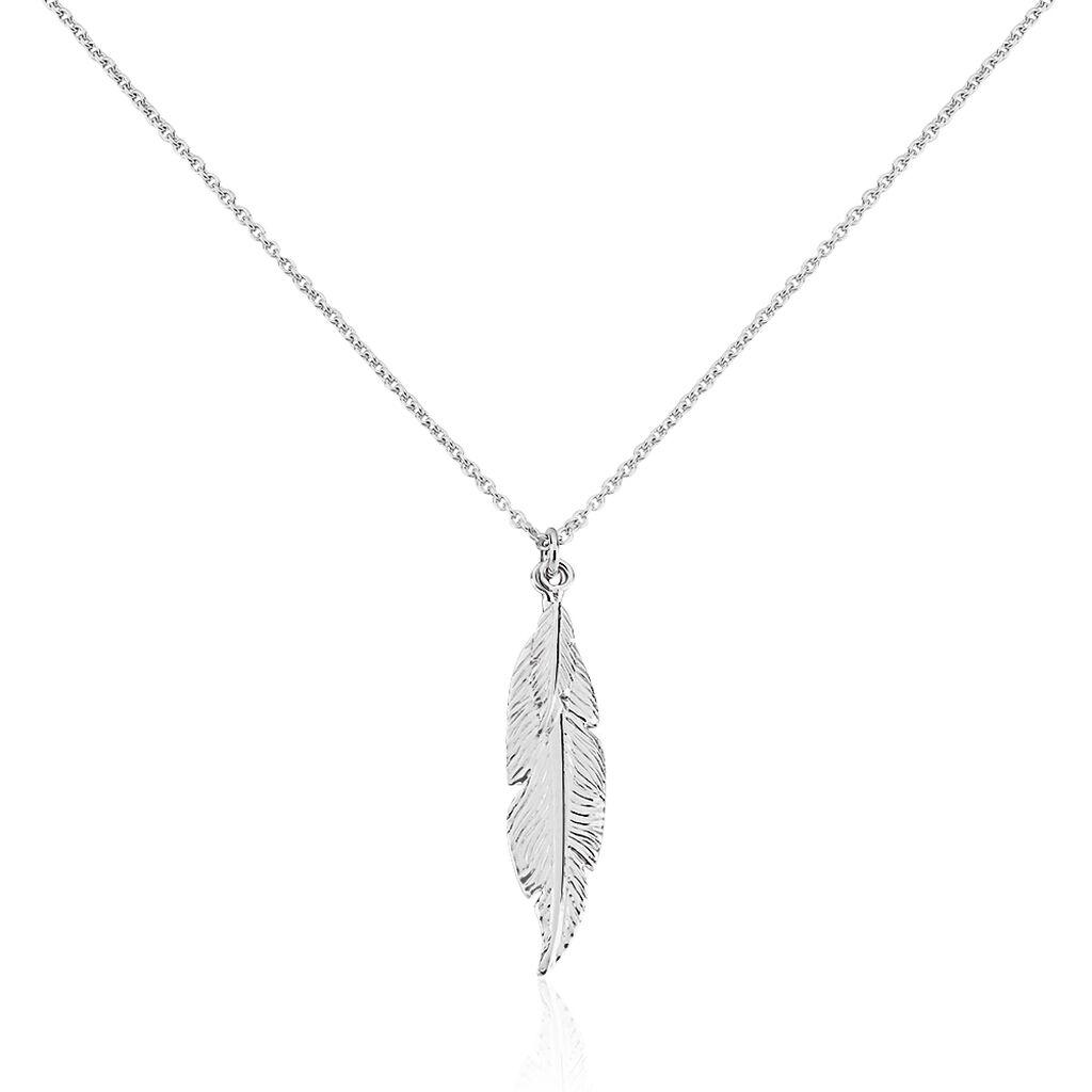 Collier Violka Argent Blanc - Colliers Plume Femme   Histoire d'Or