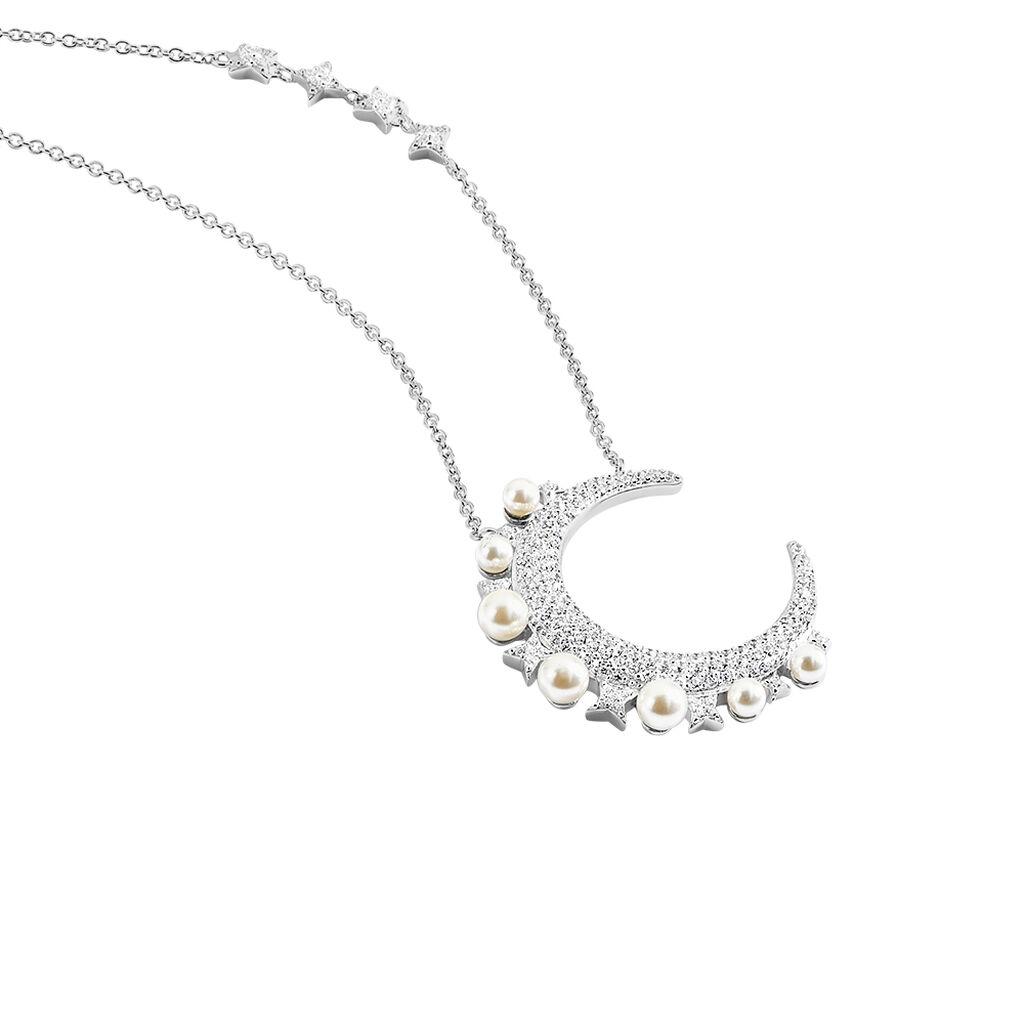 Collier Moon Argent Perle D'imitation Chrysoprase Et Oxyde - Colliers Lune Femme | Histoire d'Or