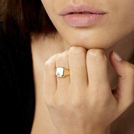 Chevalière Carree Diamantee Soleil Or Jaune - Chevalières Famille | Histoire d'Or