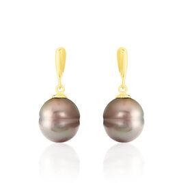 Boucles D'oreilles Pendantes Semi-baroque Or Jaune Perle De Tahiti - Boucles d'oreilles pendantes Femme | Histoire d'Or