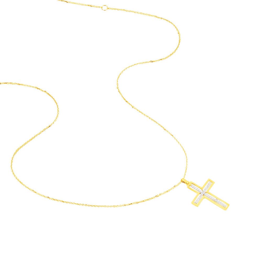Collier Croix Or Jaune Diamant - Colliers Croix Femme | Histoire d'Or
