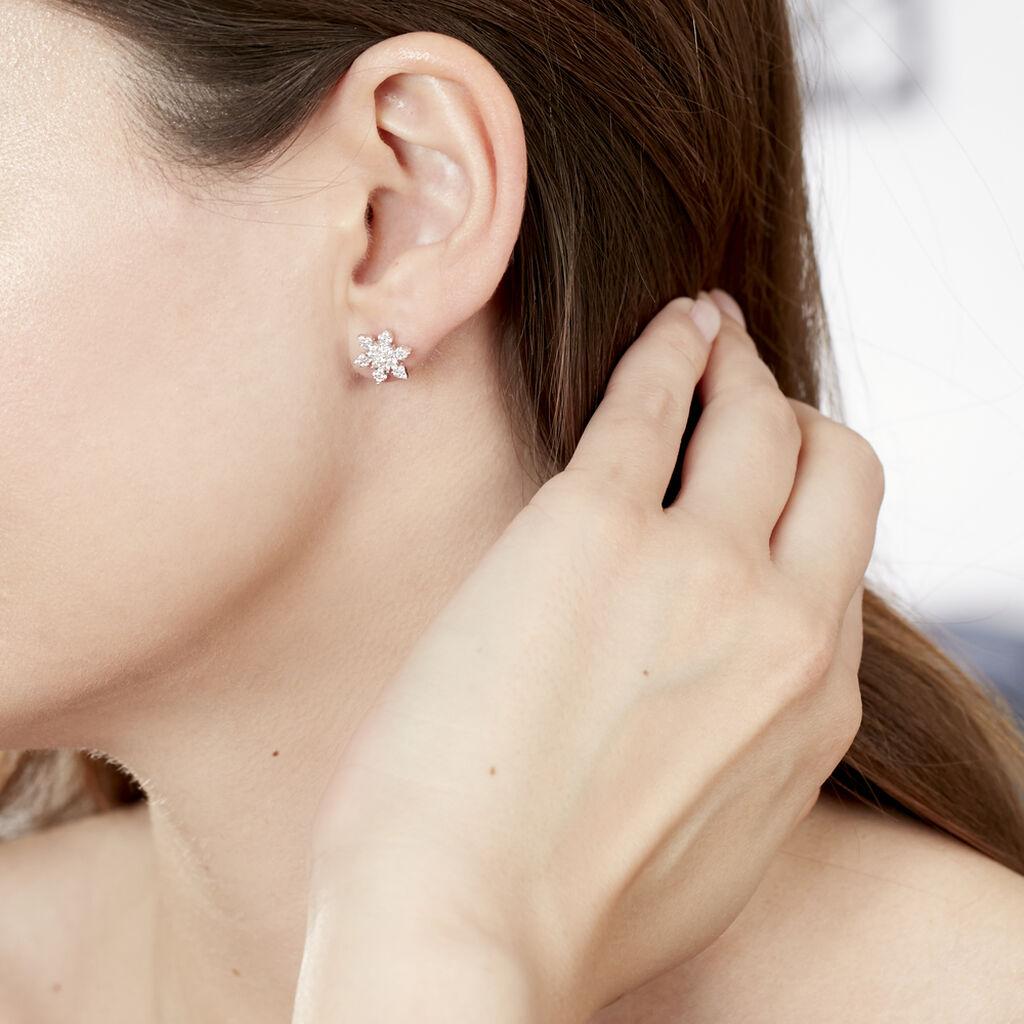 Boucles D'oreilles Puces Neige Argent Blanc Oxyde De Zirconium - Boucles d'oreilles fantaisie Femme | Histoire d'Or
