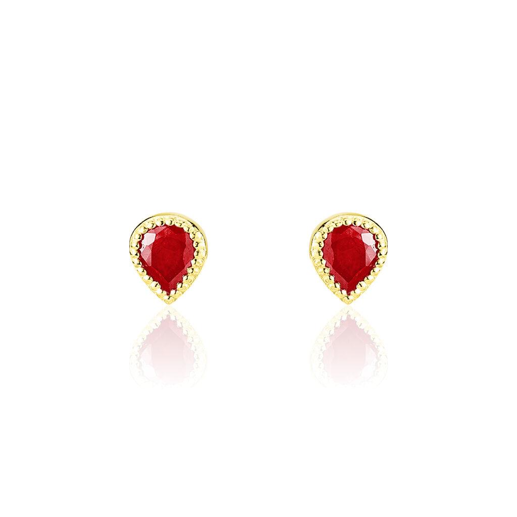 Boucles D'oreilles Puces Or Jaune Rubis - Clous d'oreilles Femme   Histoire d'Or