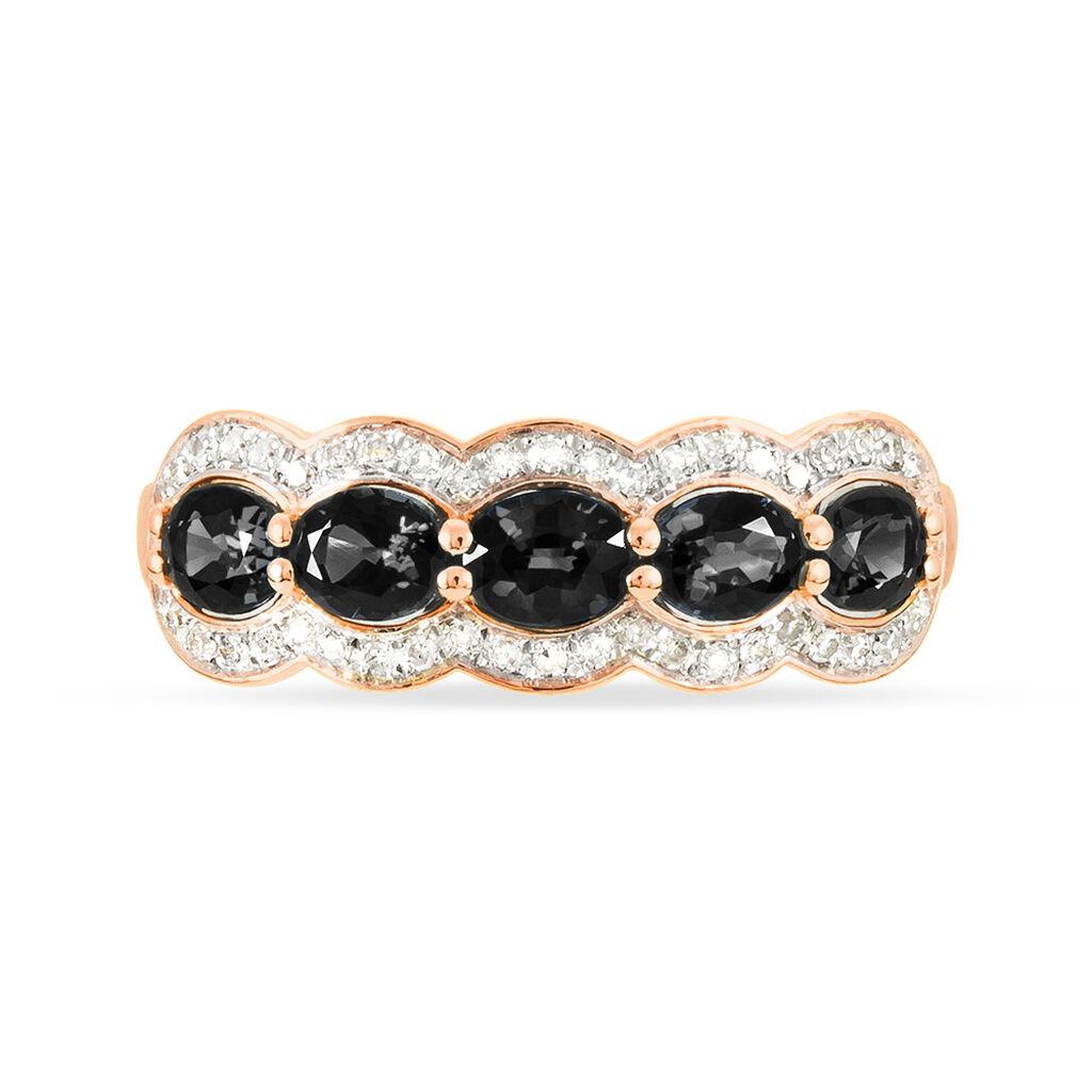 Bague Margaux Or Rose Onyx Et Diamant - Bagues avec pierre Femme | Histoire d'Or