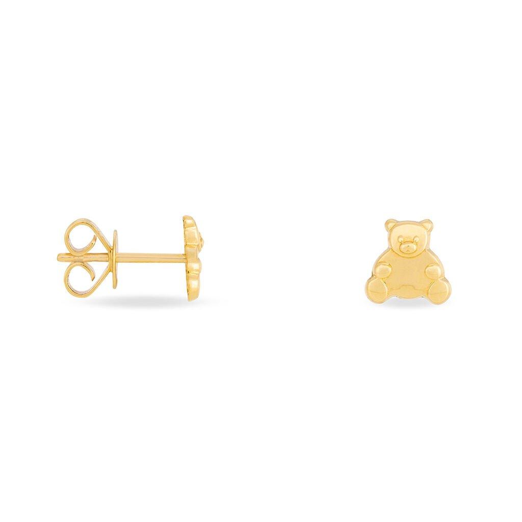 Boucles D'oreilles Puces Baptista Ours Or Jaune - Clous d'oreilles Enfant   Histoire d'Or