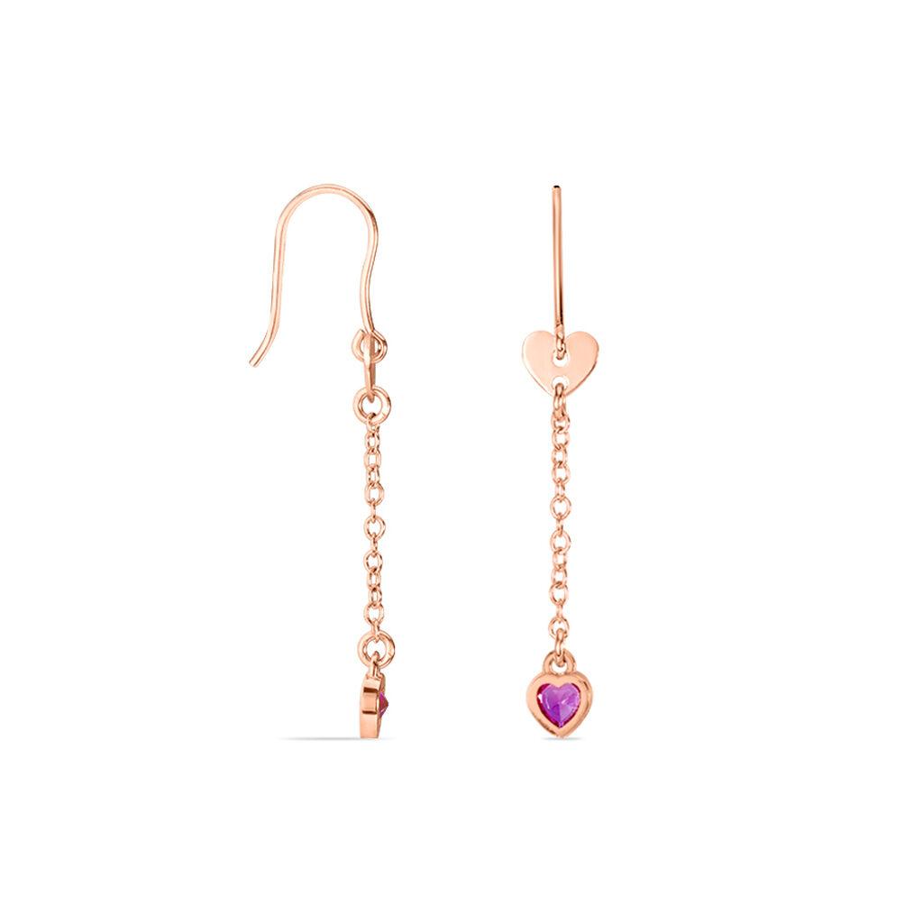 Boucles D'oreilles Pendantes Vera Argent Rose Oxyde De Zirconium - Boucles d'Oreilles Coeur Femme   Histoire d'Or