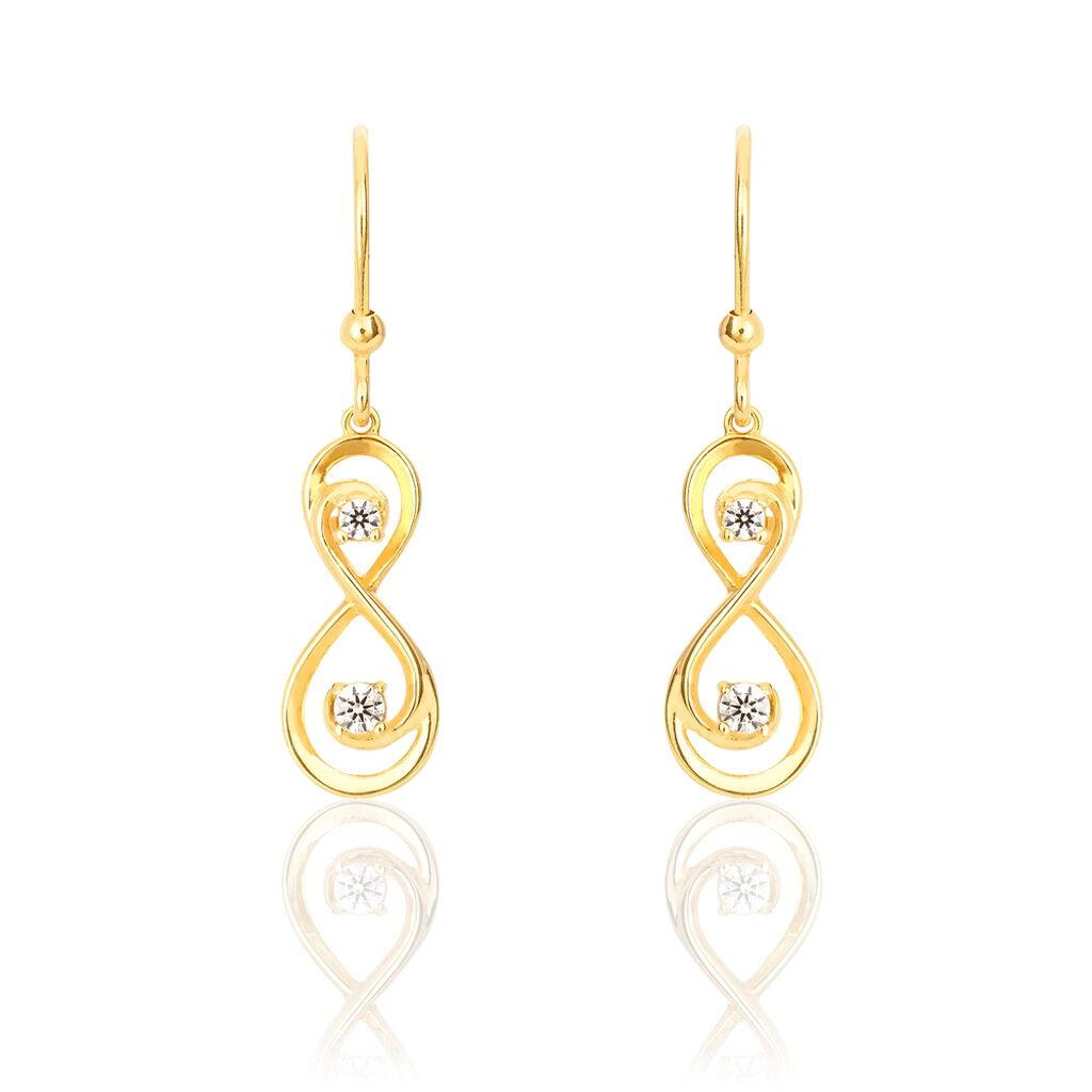 Boucles D'oreilles Pendantes Ademar Or Jaune Oxyde De Zirconium - Boucles d'Oreilles Infini Femme | Histoire d'Or