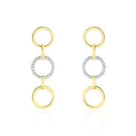 Boucles D'oreilles Pendantes Lutzele Or Bicolore Oxyde De Zirconium - Boucles d'oreilles pendantes Femme | Histoire d'Or