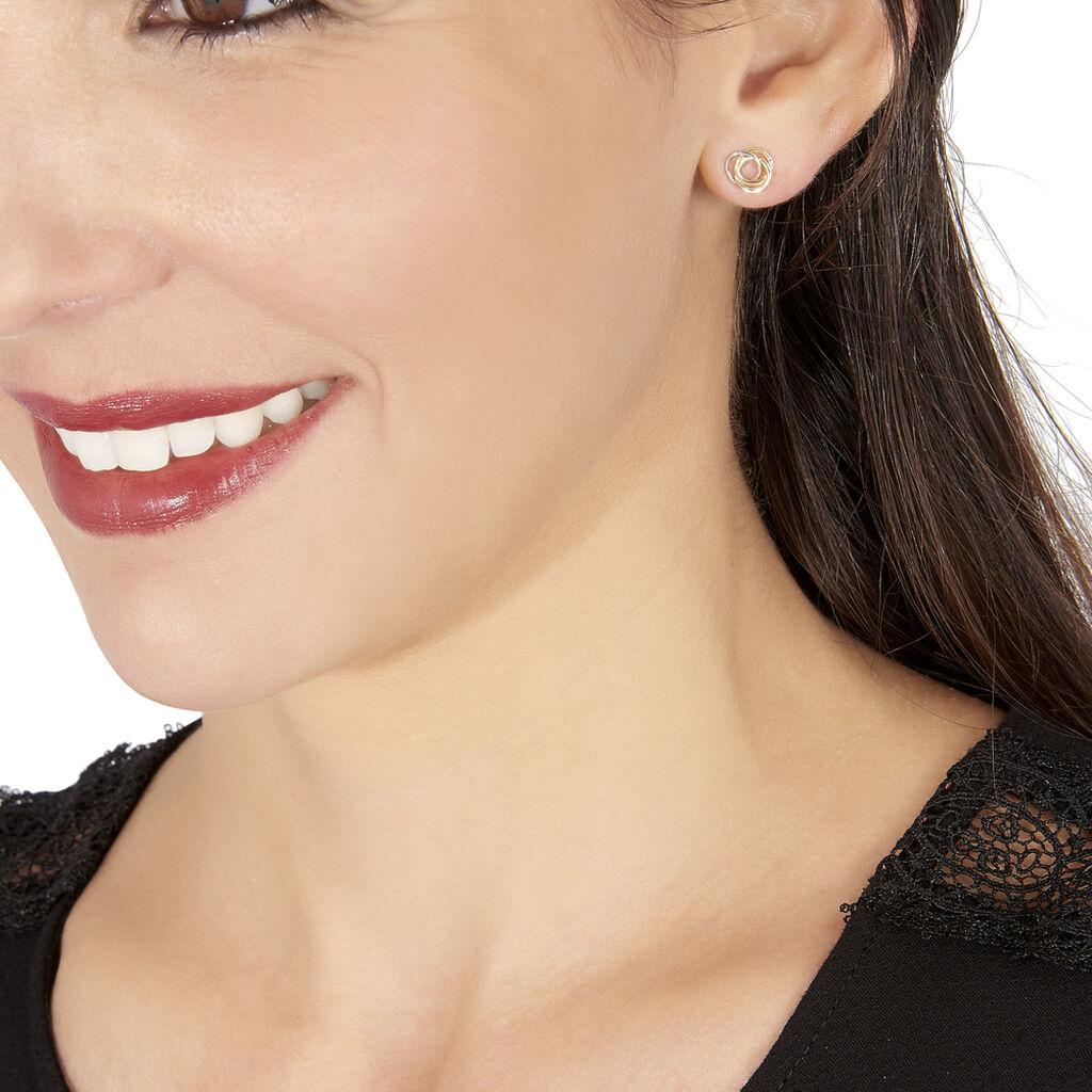 Boucles D'oreilles Puces Edmee Cercle Or Bicolore - Clous d'oreilles Femme | Histoire d'Or