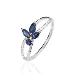 Bague Lupe Or Blanc Saphirs Et Diamants - Bagues avec pierre Femme   Histoire d'Or