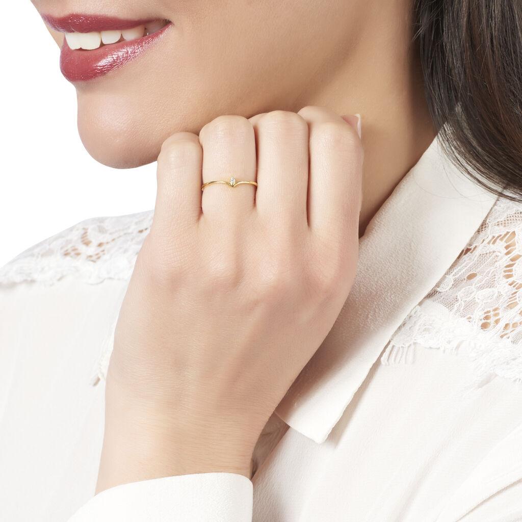 Bague Maye Or Jaune Diamant - Bagues avec pierre Femme   Histoire d'Or